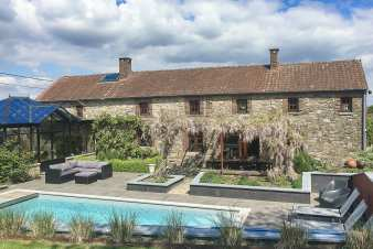 Holiday home with swimming pool for nine people near Namur